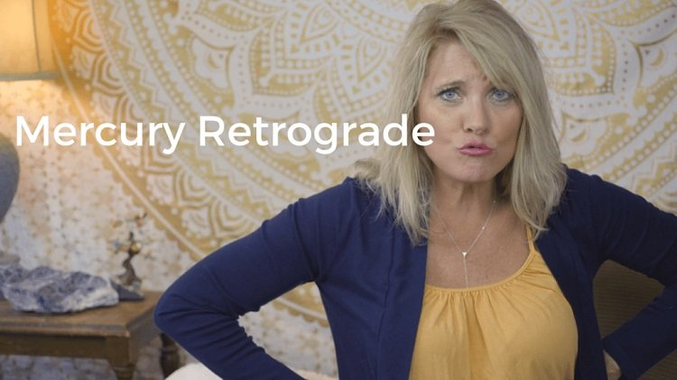 Trish McKinnley pouting with 'Mercury Retrograde' written beside her