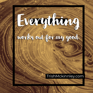 Gold swirl background. Affirmation: Everything works out for my good.