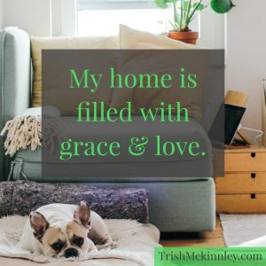 living room with dog on pillow. Affirmation: My home is filled with grace & love.