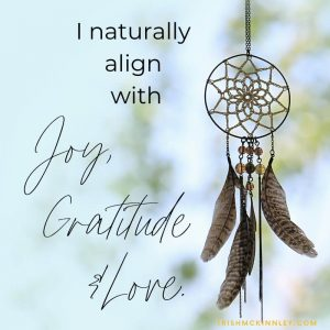 dream catcher hanging up. Affirmation: I naturally align with joy, gratitude & love.