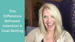 Trish McKinnley smiling with 'Difference Between Intention and Goal Setting' beside it