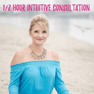 Trish sitting down with '1/2 hour intuitive consultation' written above