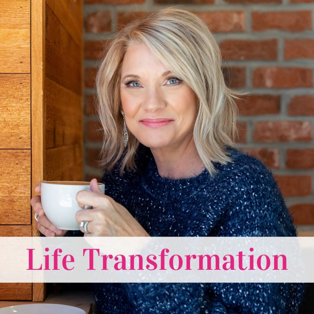 """Picture of Trish with the words """"Life Transformation"""""""
