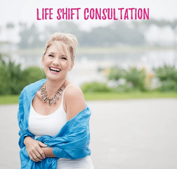 Trish McKinnley laughing with 'Life Shift Consultation' Written Above Her