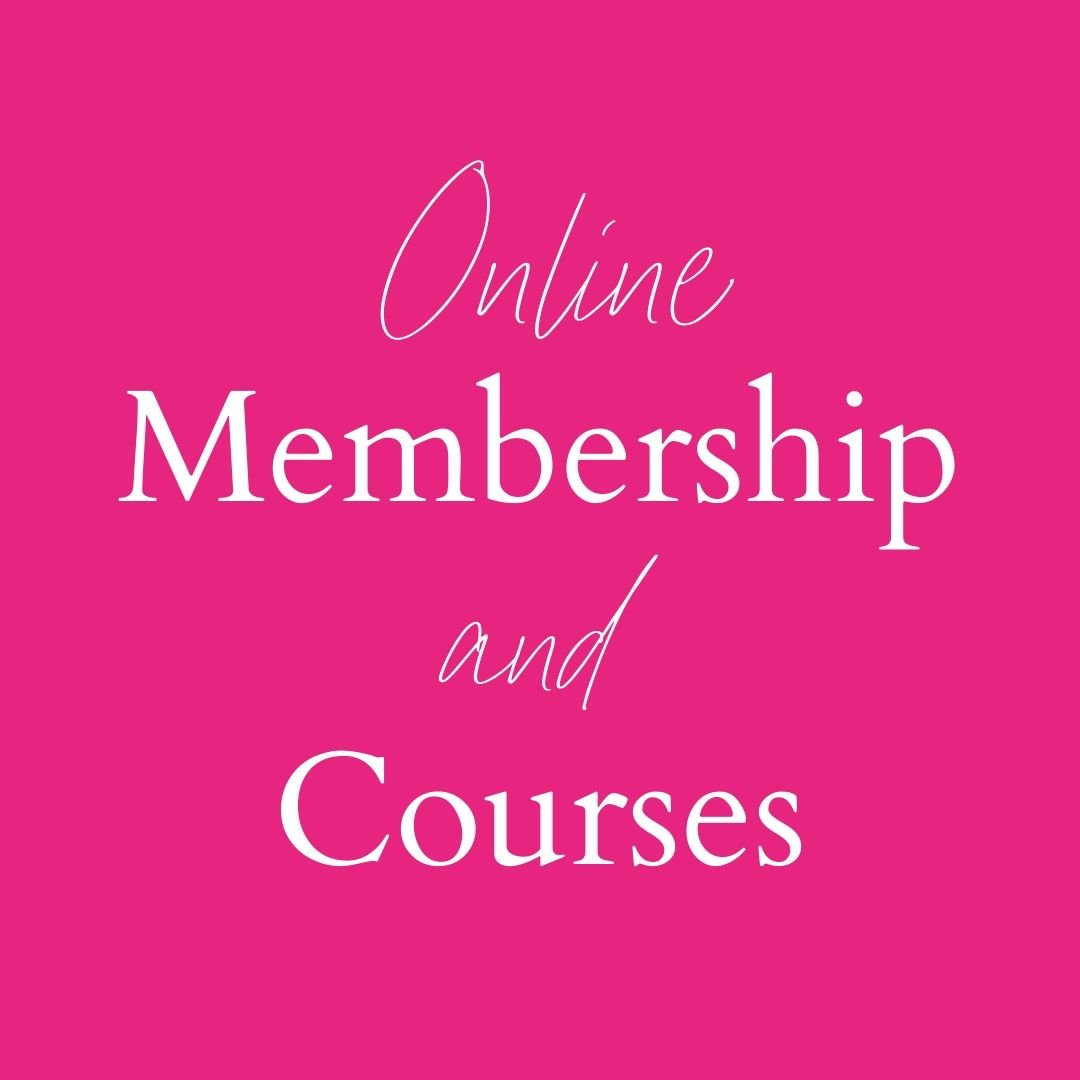 """pink square with words """"Online membership and courses"""""""