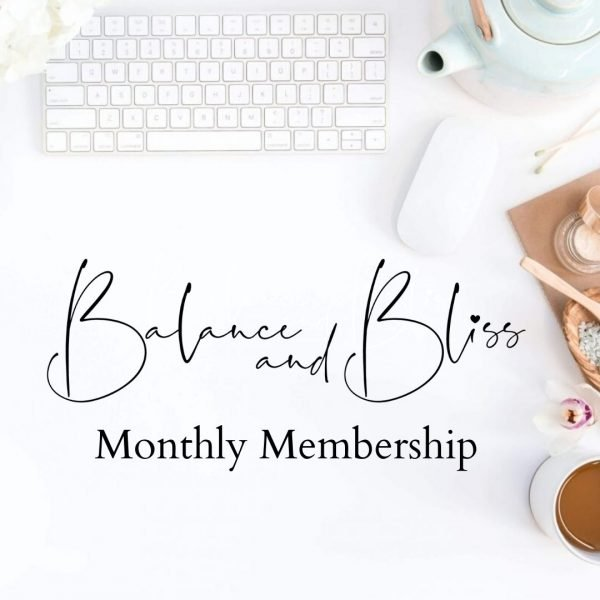 Computer keyboard and mouse and the words Balance and Bliss Monthly Membership