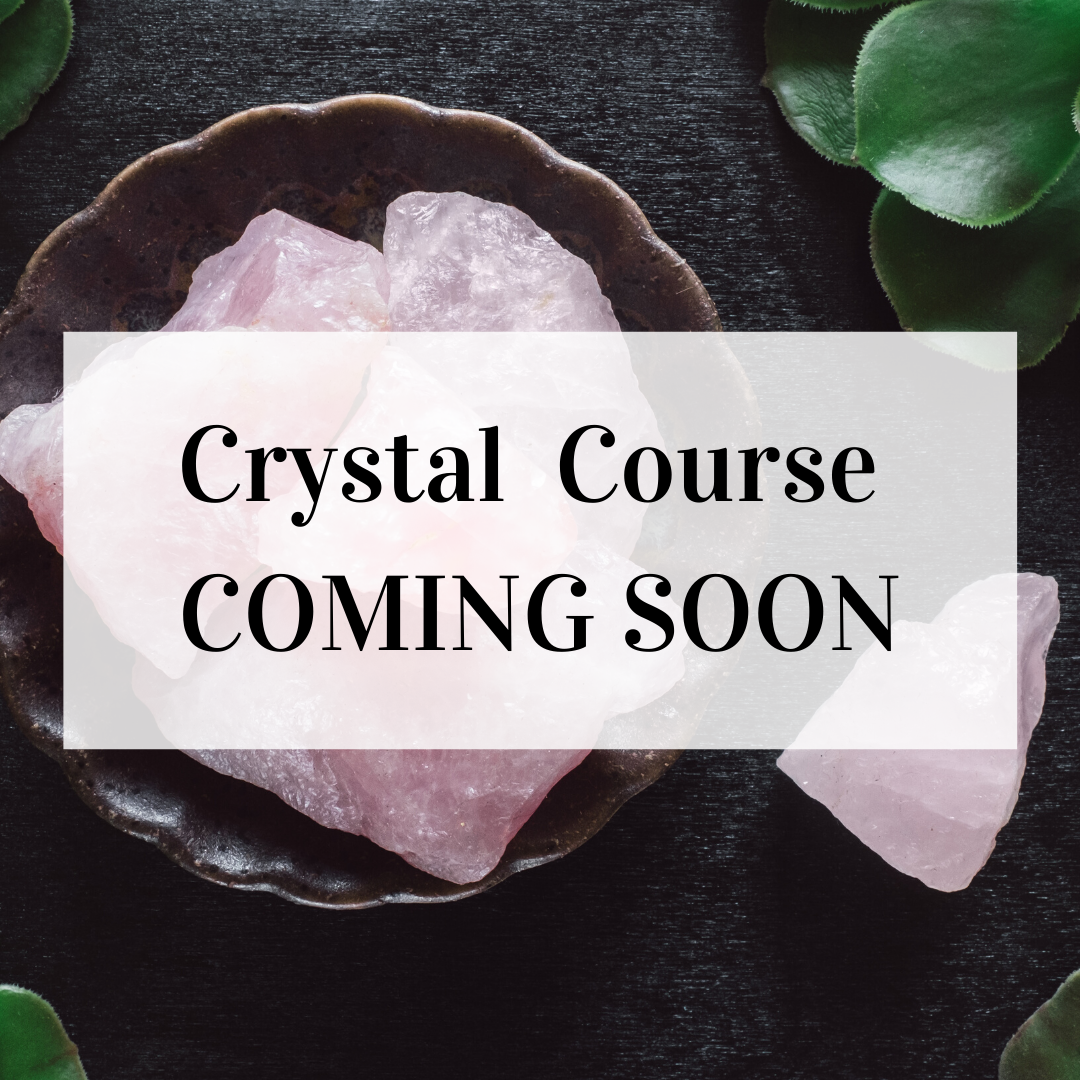 """Image of rose quartz with the words """"Crystal course coming soon"""""""