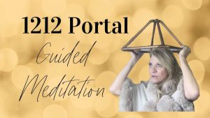 1212 Portal Merkaba Guided Meditation title image. Photo of Trish holding golden pyramid above her head.